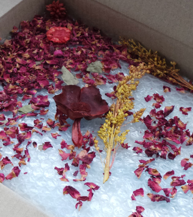 Flowers in our packaging